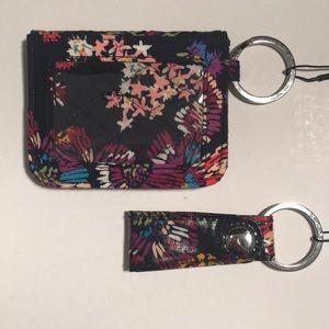 Vera Bradley Campus double wallet and key fob